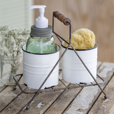 Double White Chippy Cans with Simple Metal Caddy