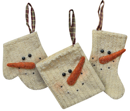 Set of 3 Chenille Snowman Ornaments