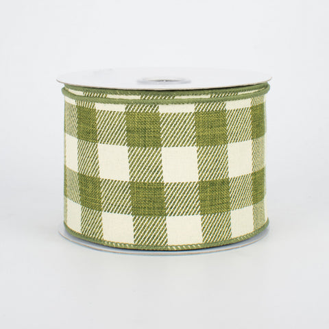 "Moss Green & Cream Buffalo Plaid Ribbon 2.5"" x 10 yards"