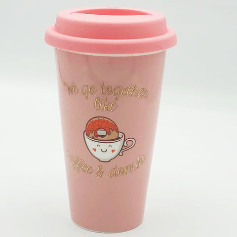 Charming Charlie We Go Together Like Coffee and Donuts Ceramic Travel Mug