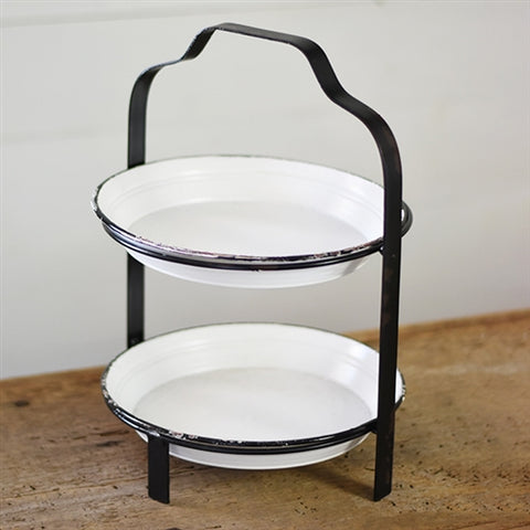 Black and White Tin Double Tier Stand Caddy
