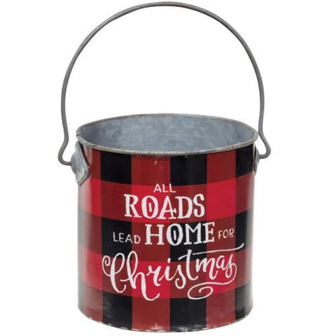 Home For Christmas Buffalo Check Bucket