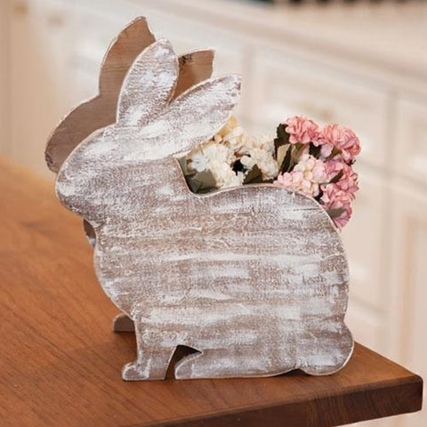 Distressed Wood Bunny Planter Box