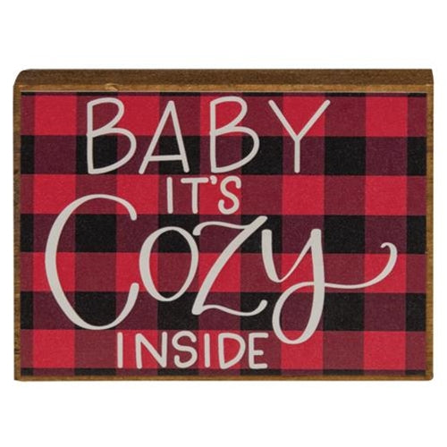 Baby It's Cozy Buffalo Check Mini Block Sign