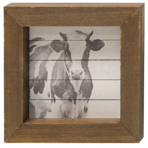 "Simply Farmhouse Cow 4"" Square Block"