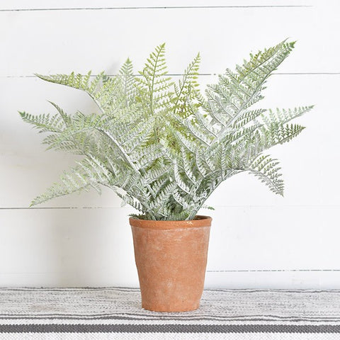 Elegant Faux Fern in Terra Cotta Pot