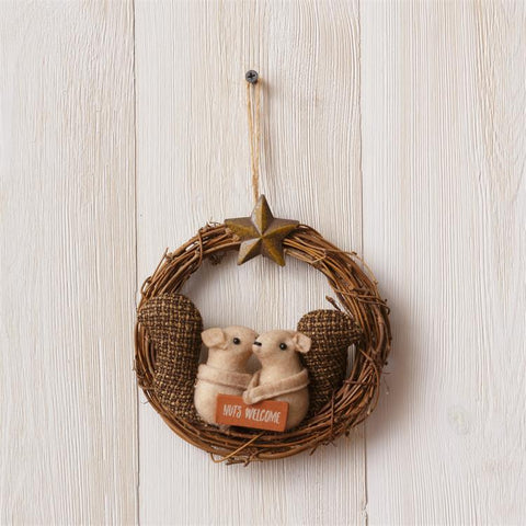 Nuts Welcome Cozy Squirrels Small Wreath