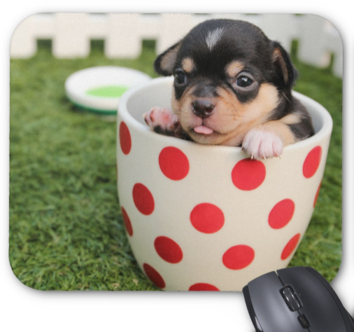 Dog Mousepad - Pup in Polka Dot Cup - Mouse Pad