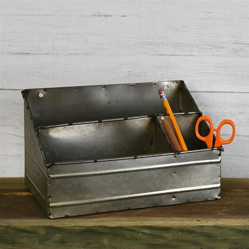 Tin Rustic Organizer - 3 sections - tabletop or can be hung