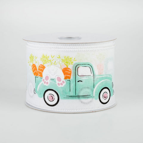 "Pickup Truck With Bunny & Carrots Easter Ribbon 2.5"" x 10 yards"