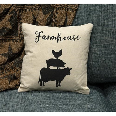 "Stacked Farmhouse Animals Pillow 10"" square"