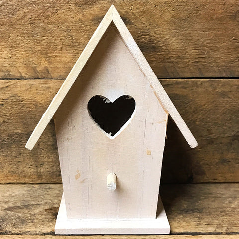 Whitewash Wooden Heart Birdhouse