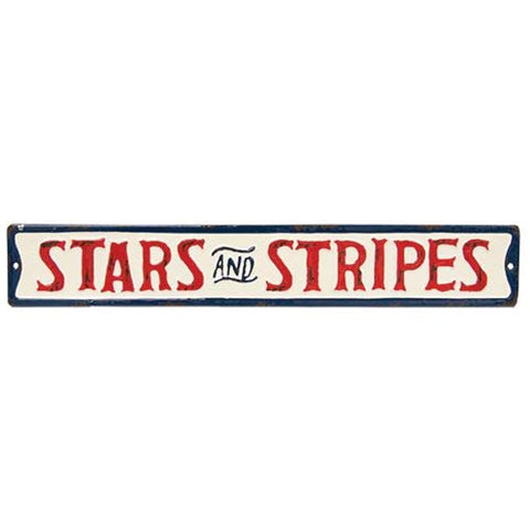 "Stars and Stripes 22"" Metal Americana Street Sign"