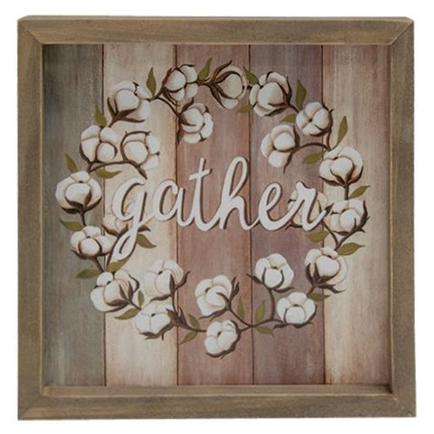 "Gather Cotton Wreath 8"" Box Sign"