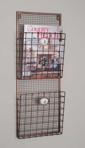 Industrial Copper Tone Hanging Magazine Rack