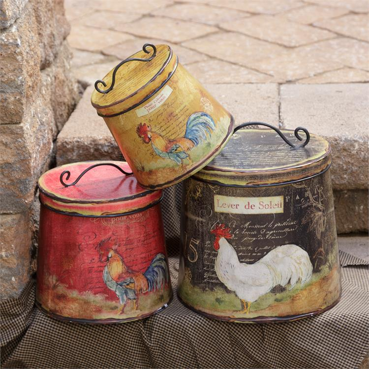 Set of 3 French Country Rooster Canister Tin Set