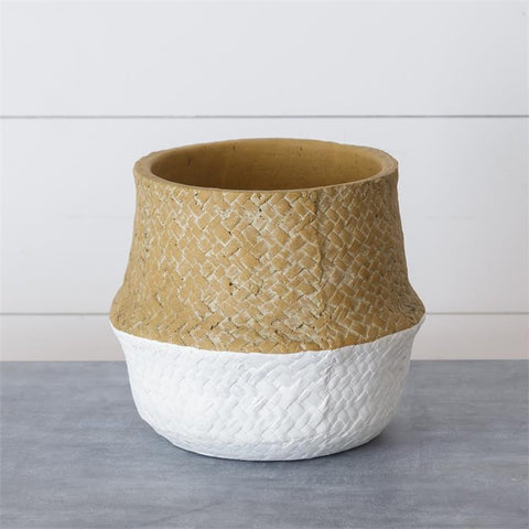 Basketweave Patterned Medium Cement Planter