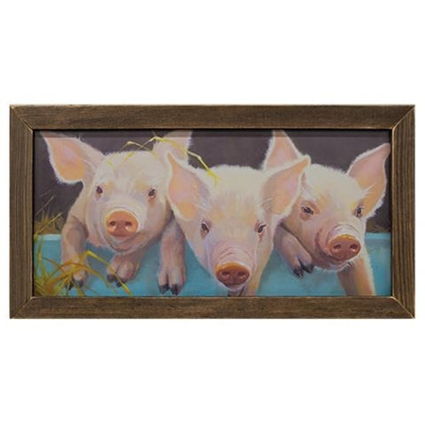 Peter Patty Penny the Pigs Print in Brown Stain Frame
