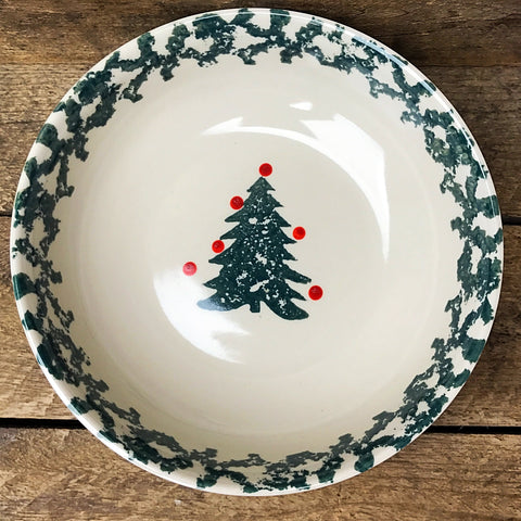 Tienshan Winter Wonderland Spongeware Christmas Tree Soup Bowl