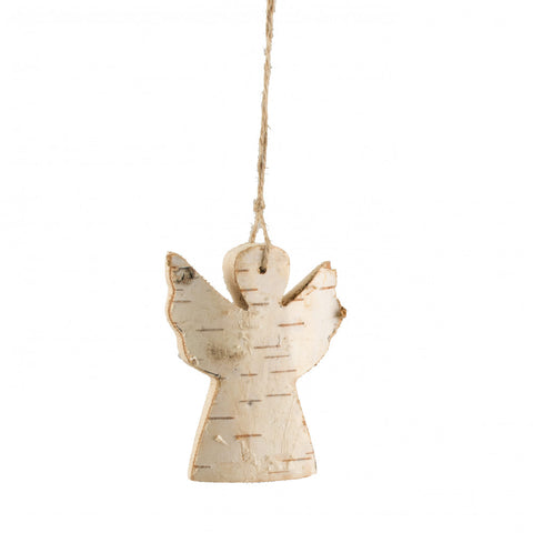 Carved Birch Christmas Angel Ornament