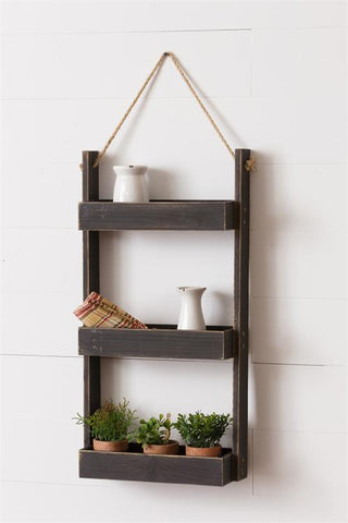 Modern Farmhouse Hanging Three Wooden Shelves