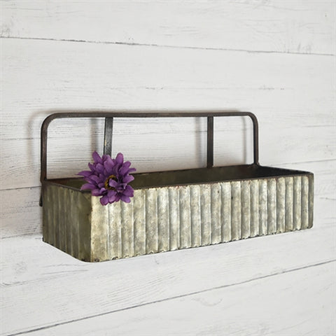 "Rustic Corrugated Tin Wall Shelf 14"" wide"
