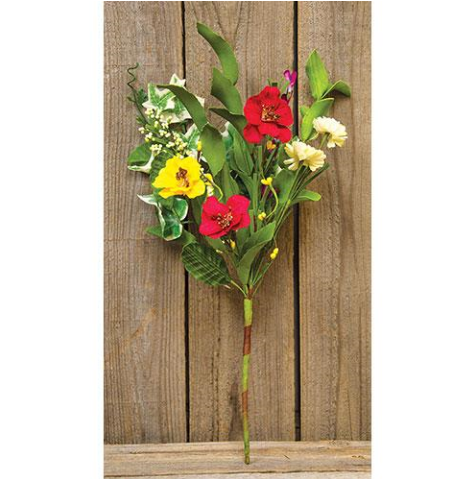 "Hibiscus and Bright Blooms 14"" Faux Floral Spray"