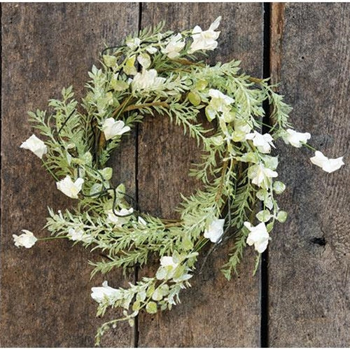 "White Lobelia and Foliage 11"" Small Wreath Ring"
