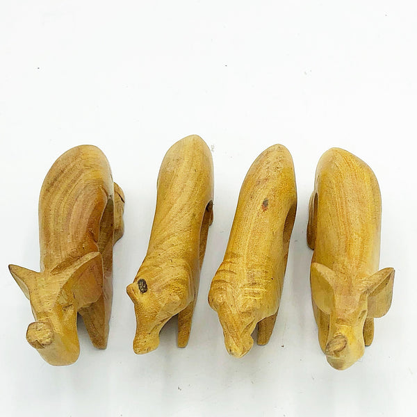 Set of 4 Wooden Elephants & Lions Napkin Rings Made in Kenya