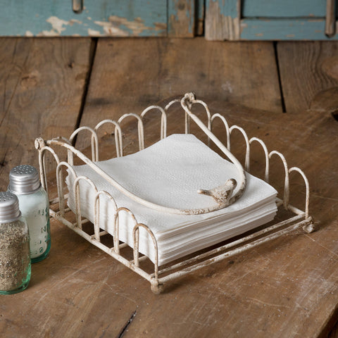 Cottage Chic Napkin Holder with Bird
