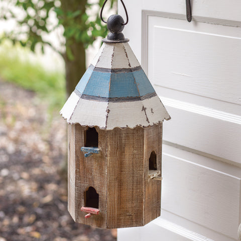 Finch Wooden Birdhouse with Blue and White Roof