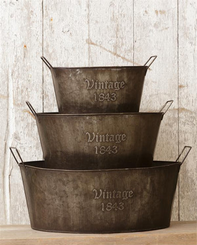 Set of 3 Rustic Vintage-style 1843 Oval Tubs