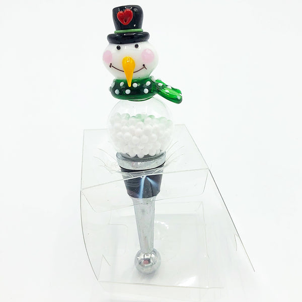 Glass Snowman with Green Scarf Wine Bottle Stopper