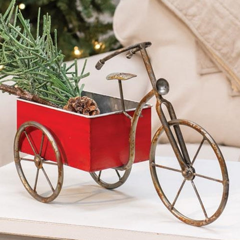 Rustic Red Tricycle Bin Container