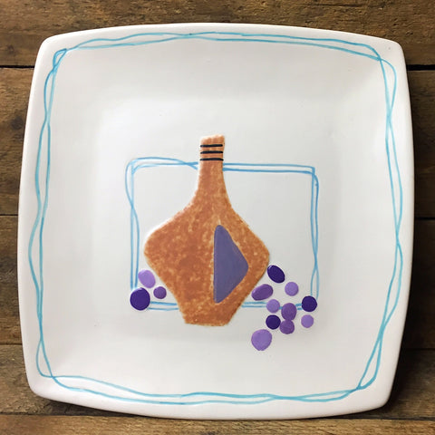 Square Decorative Plate - Wine Jug and Grapes - Pacific Enterprises