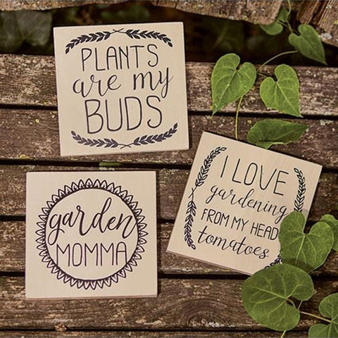 Set of 3 Garden and Plant Lovers Sign Blocks