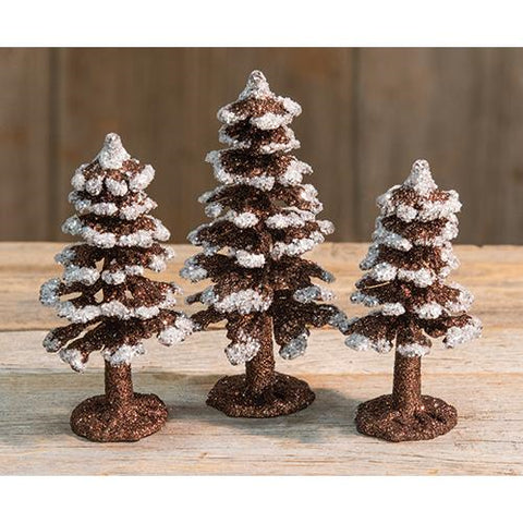 Set of 3 Mini Glitter Christmas Trees