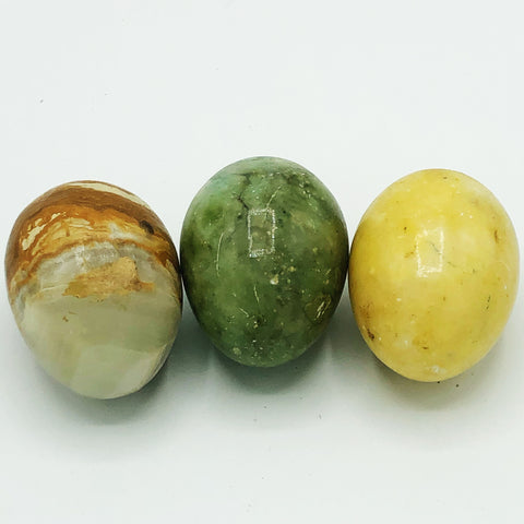 Set of Three Natural Colored Marble Decorative Eggs