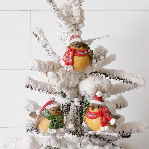 Set of 3 Snow Birds with Santa Hats ornaments