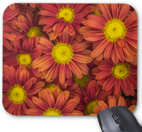 Floral Photo Mousepad - Bronze Fall Daisies- Mouse Pad