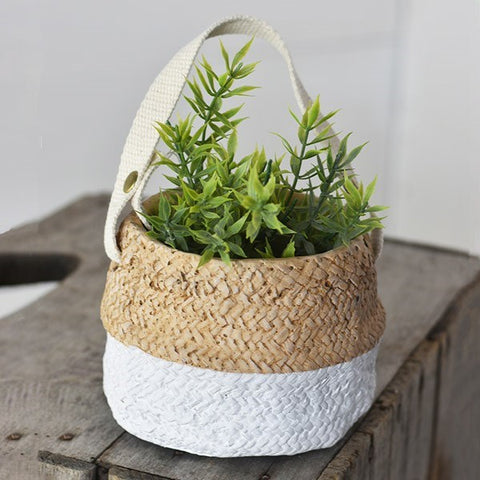 "White Painted Bottom Sea Grass Woven Bag Planter 5.5"" H"
