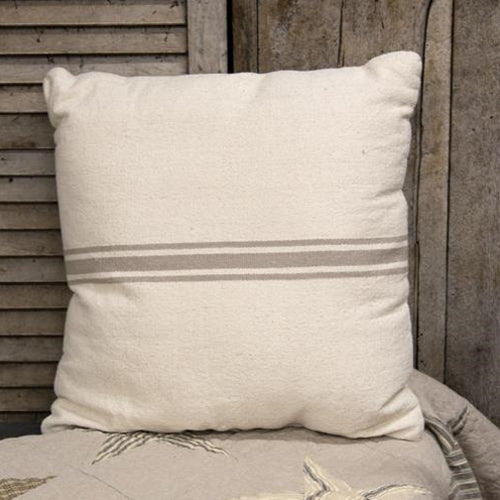 "Gray Stripe Grain Sack 18"" Pillow"