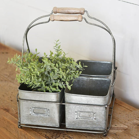 Rustic Four Sectioned Tin Caddy