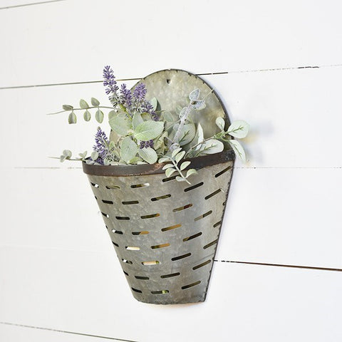 Galvanized Metal Olive Bucket Wall Pocket