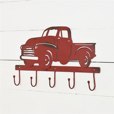 Vintage Red Pickup Truck Heavy Metal Wall Hooks