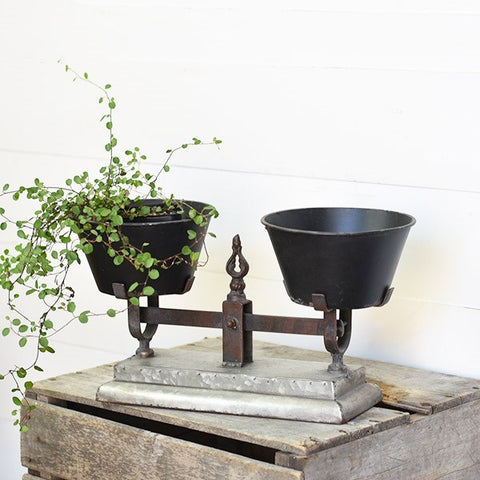 Decorative Vintage Inspired Double Pot Scale