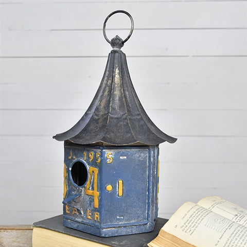 Blue License Plate Bird House