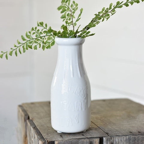"White Stoneware 8"" Milk Bottle Vase"