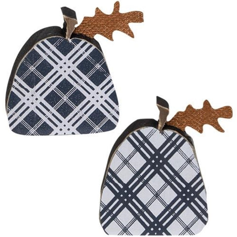 Set of 2 Black Plaid Wooden Cutout Pumpkins
