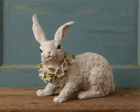 "Spring Bunny Rabbit Figure with Flowers 10"" H"